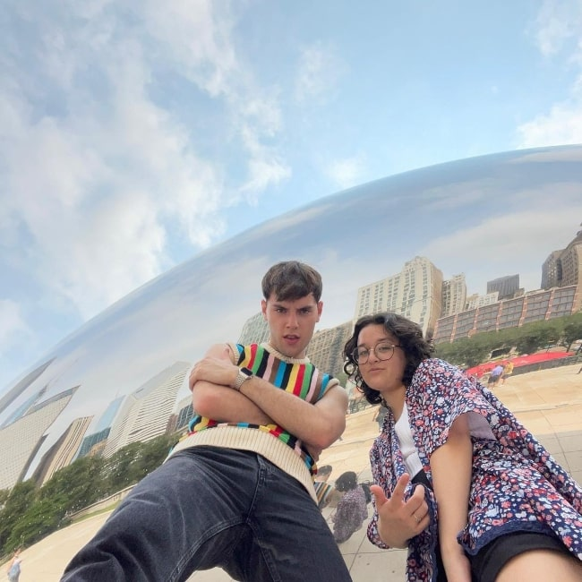 Lauren Patel and Max Harwood posing for the camera in Chicago, Illinois in August 2021