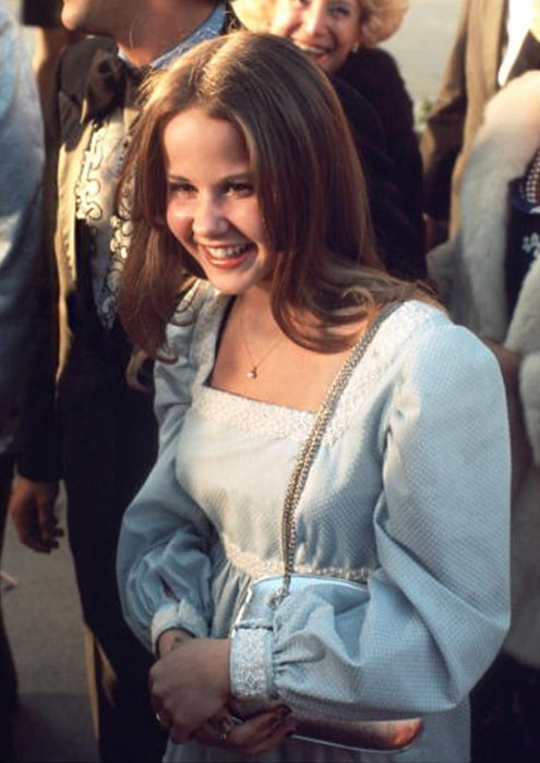 Linda Blair pictured while attending the 46th Academy Awards in 1974, where she received her first Academy Award nomination for 'The Exorcist' (1973)