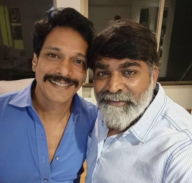 Mahesh Shetty (Left) and Vijay Sethupathi in July 2021