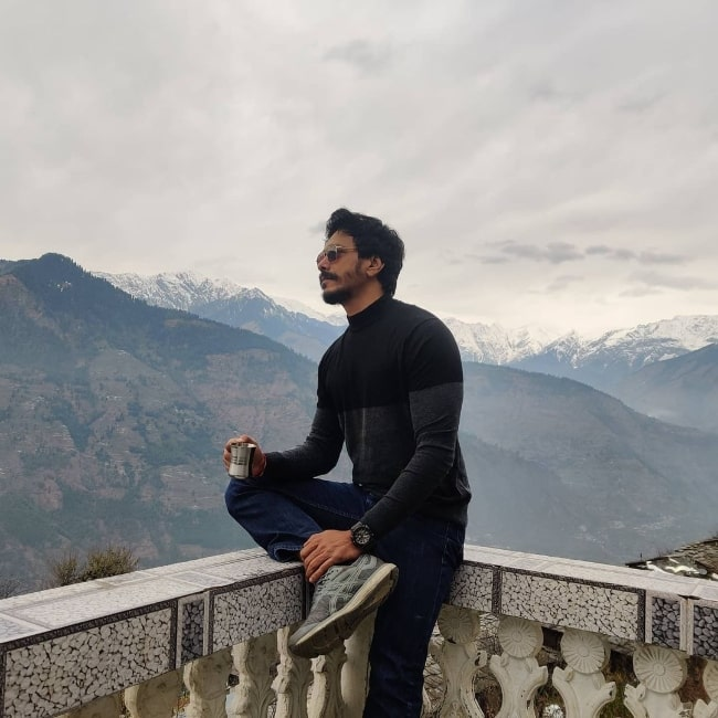 Mahesh Shetty as seen while enjoying his time in the mountains
