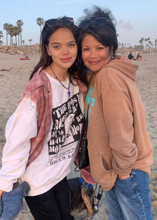 Malia Pyles as seen in a picture with her best friend Nicole Fisser at the Huntington Dog Beach in May 2021