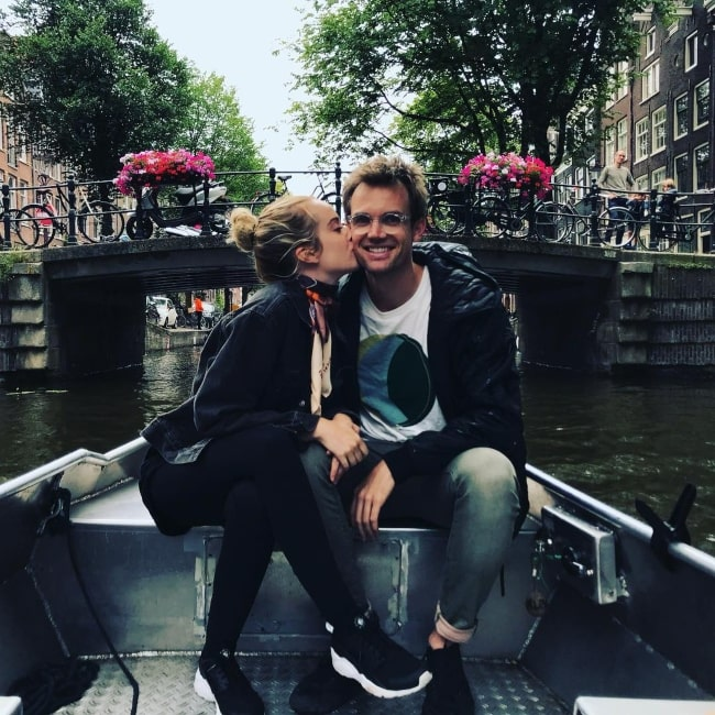 Megan Park as seen in a picture with her spouse musician and singer Tyler Hilton in Amsterdam, Netherlands in July 2018