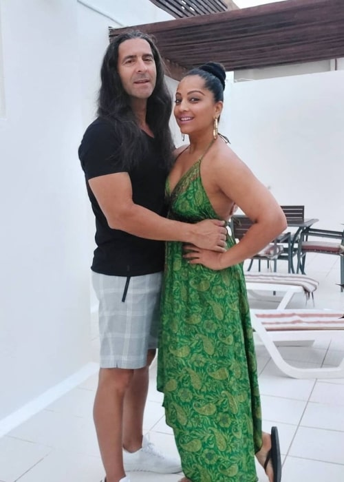 Meghna Naidu as seen in a picture with her husband Luis Miguel Reis in July 2021, in Playa del Carmen, Quintana Roo