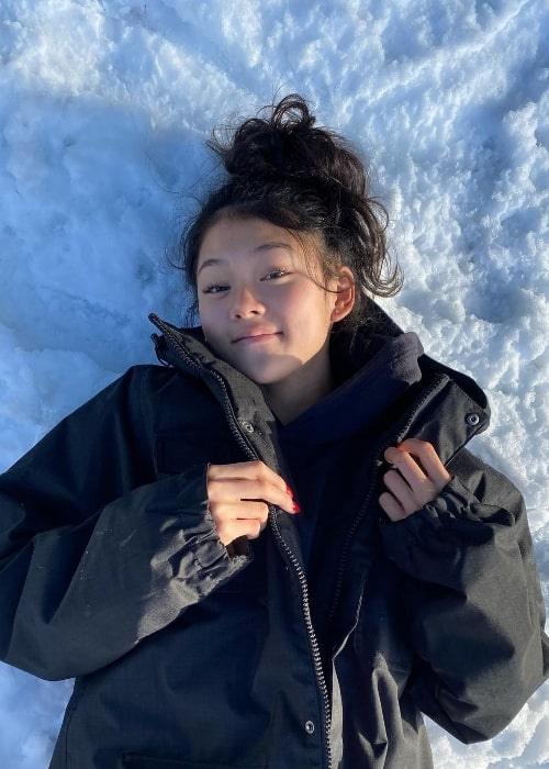 Momona Tamada pictured while enjoying her time in the snow in December 2020