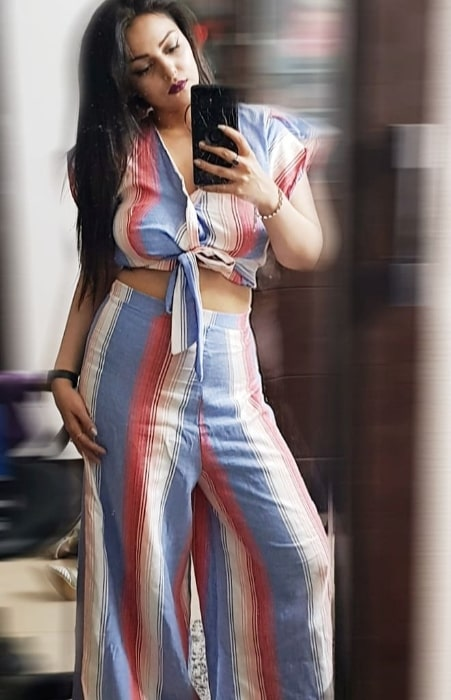 Nehalaxmi Iyer as seen while taking a mirror selfie in Mumbai, Maharashtra in May 2019