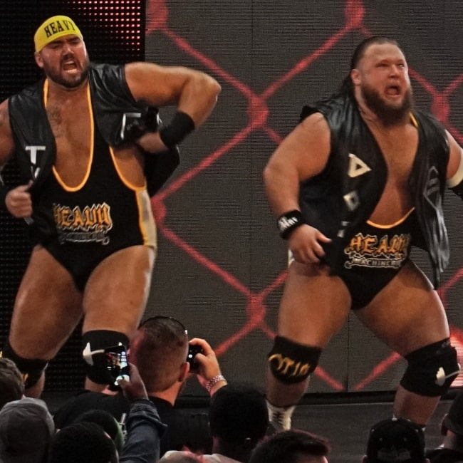 Otis Dozovic (right) and Tucker Knight (left) at NXT TakeOver_ New Orleans in April 2018