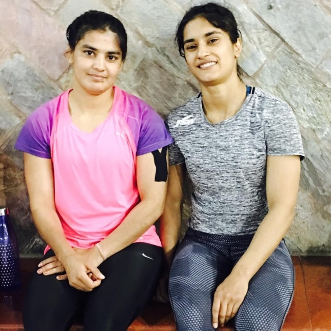 Priyanka Phogat and her sister Vinesh Phogat as seen in a picture that was taken in March 2017
