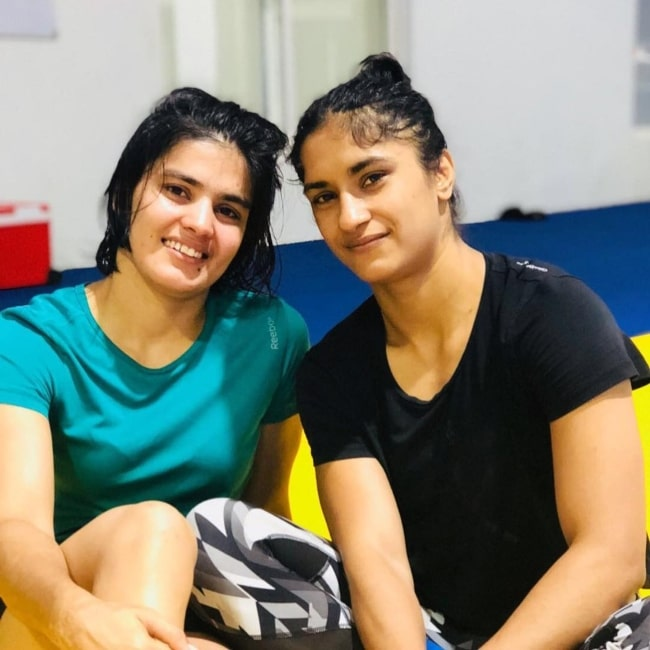 Priyanka Phogat as seen in a picture that was taken with her sister Vinesh Phogat in December 2017