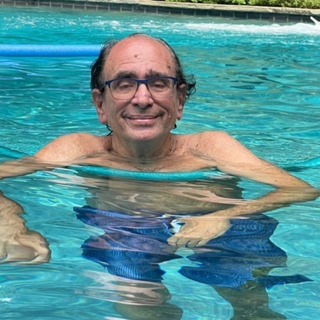 R. L. Stine as seen in a picture that was taken in August 2021, while in a pool