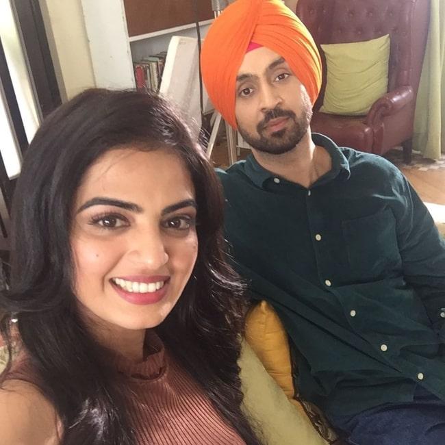 Roshni Sahota as seen while taking a selfie with Diljit Dosanjh on the set of 'Suraj Pe Mangal Bhari'