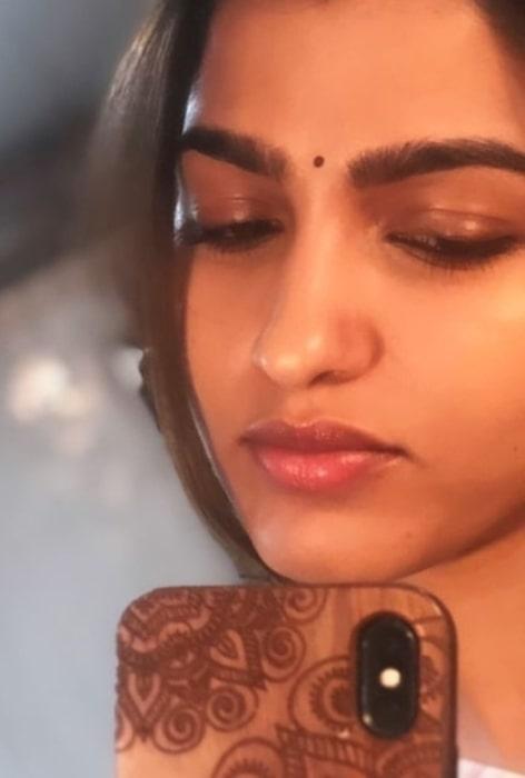 Sai Dhanshika sharing her selfie in February 2020
