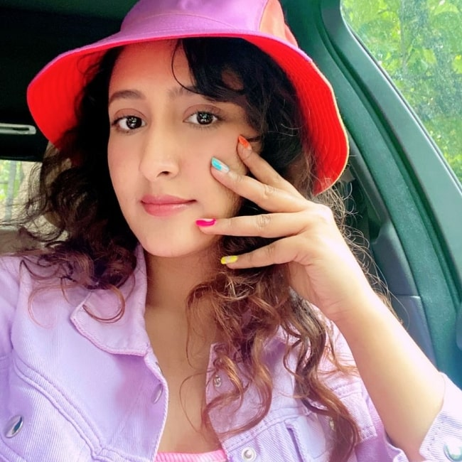 Shivya Pathania as seen while taking a selfie in July 2021