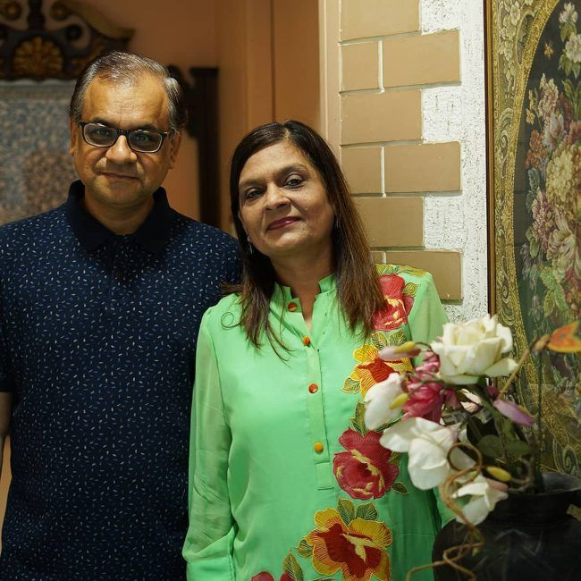 Sima Taparia as seen with her husband in August 2020