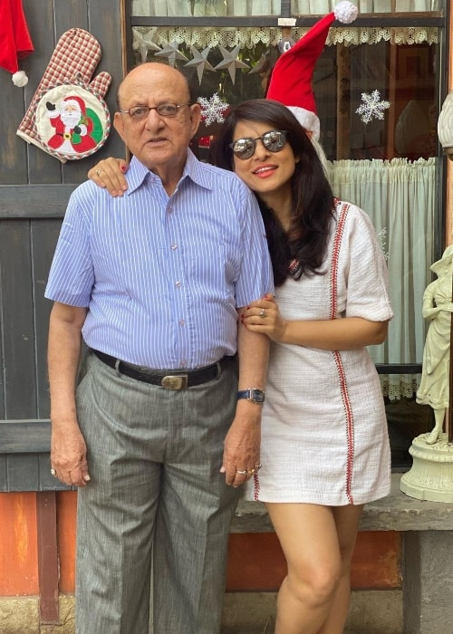 Simple Kaul as seen while posing for a picture alongside her father