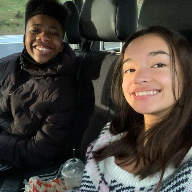Sophia Hammons as seen in a selfie with actor Christian J. Simon in November 2020
