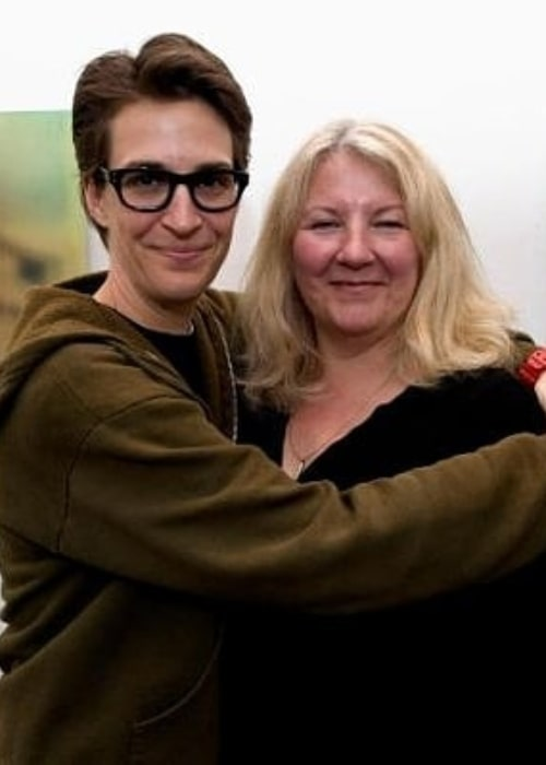 Susan Mikula and Rachel Maddow, as seen in October 2018