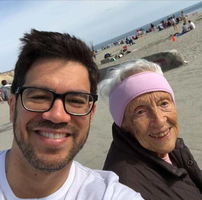 Tai and his grandmother as seen smiling in 2018