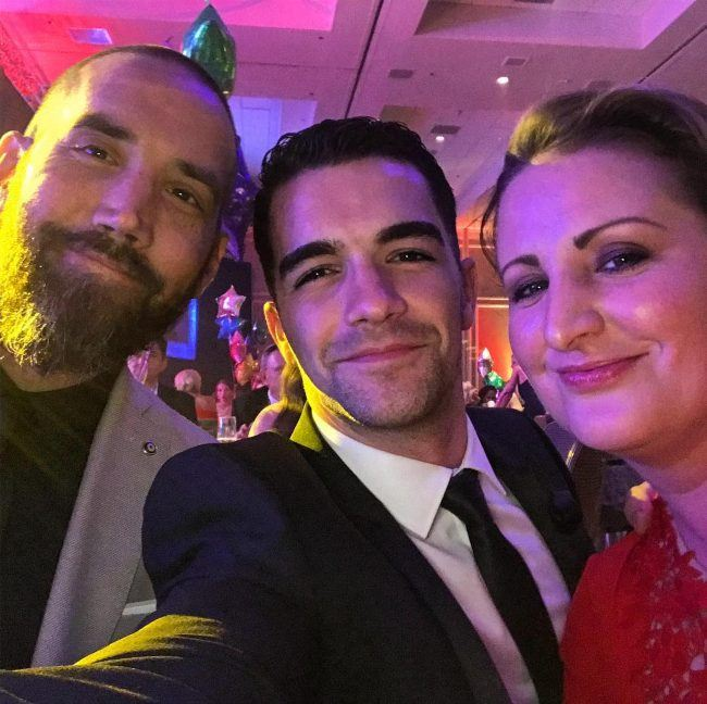 Tony Bellissimo as seen with Marty Kudelka (left) and Mandy Moore in 2018