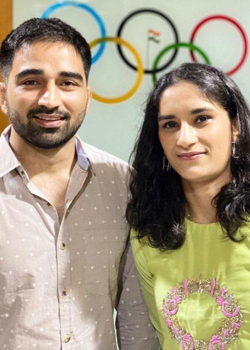 Vinesh Phogat and Somvir Rathee, as seen in September 2020