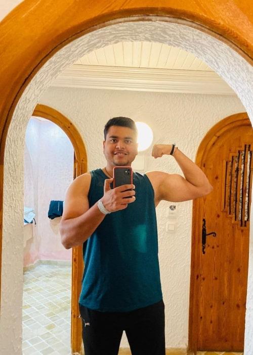 Yogesh Kathuniya as seen in a selfie that was taken in Hôtel Lella Baya & Thalasso in March 2021
