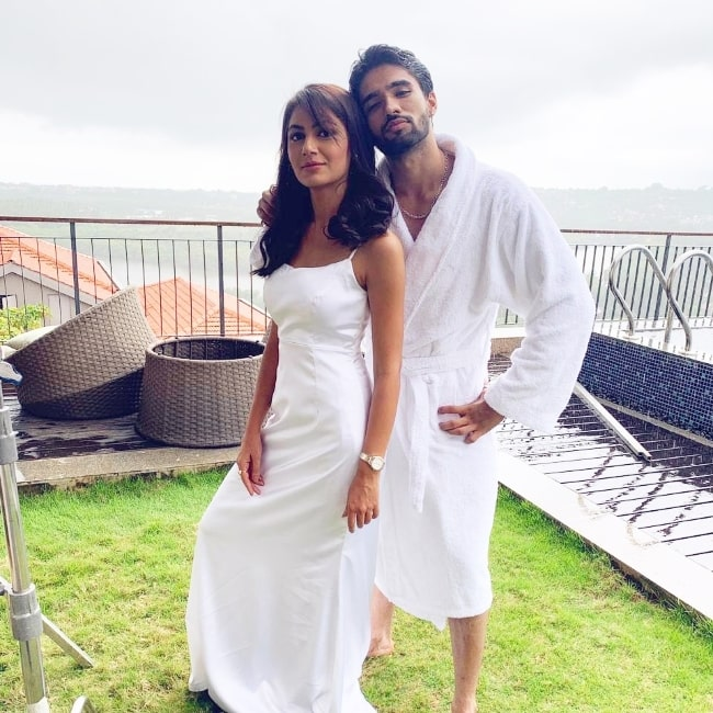 Zeeshan Khan posing for a picture with Sriti Jha in Goa, India in June 2021