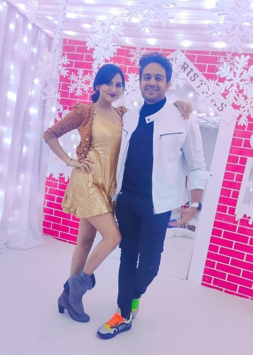 Akanksha Chamola as seen in a picture that was taken with her husband Gaurav Khanna in January 2021