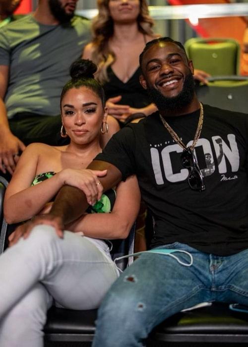 Aljamain Sterling and Rebecca Cruz, as seen in August 2021