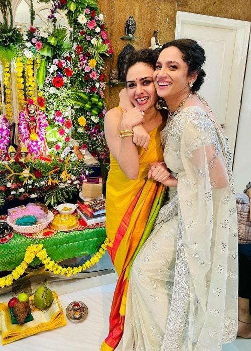 Amruta Khanvilkar (Left) and Ankita Lokhande in September 2021