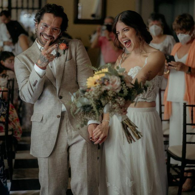 Angel Manuel Soto as seen with his wife on their wedding day in 2021