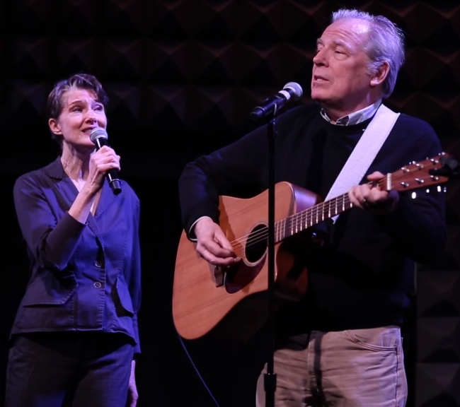 Annette O'Toole and her husband Michael McKean pictured while performing their song 'Kiss at the End of the Rainbow' on 'Employee of the Month' in 2016