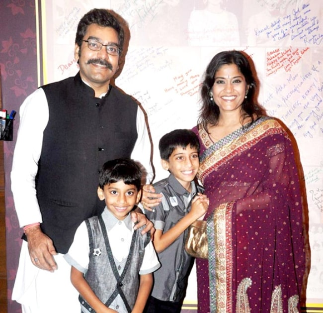 Ashutosh Rana and his wife Renuka Shahane with their two sons at the 70th birthday party of Asha Parekh