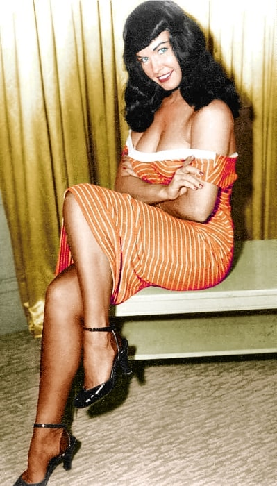 Bettie Page as seen while posing for a picture