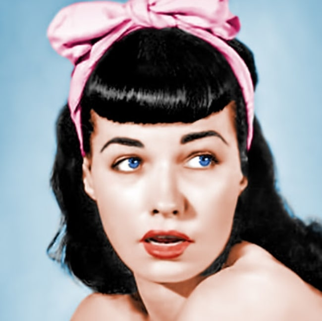 Bettie Page as seen while posing for the camera