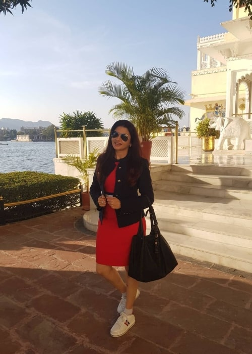 Bhagyashree as seen in a picture that was taken at the Fateh Prakash Palace, Udaipur in July 2021