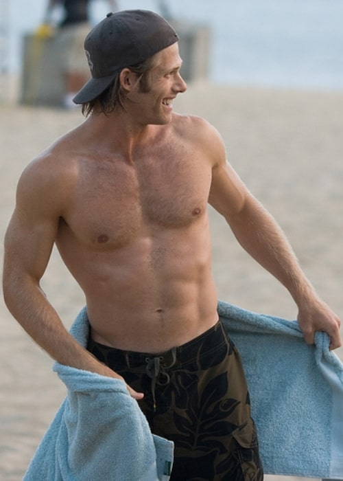 Chris Carmack shirtless on a beach in May 2008