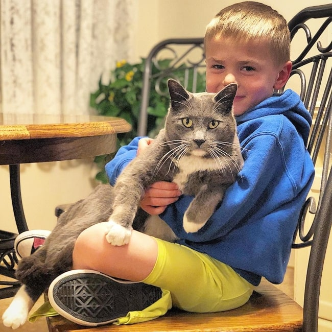 Daxton Butler as seen in a picture that was taken with his pet cat in March 2019