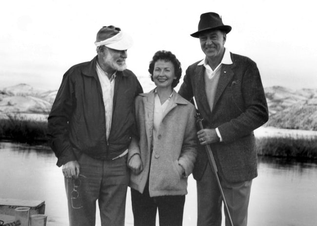 From Left to Right - Ernest Hemingway, Bobbi Powell, and Gary Cooper at Silver Creek, Idaho, 1959