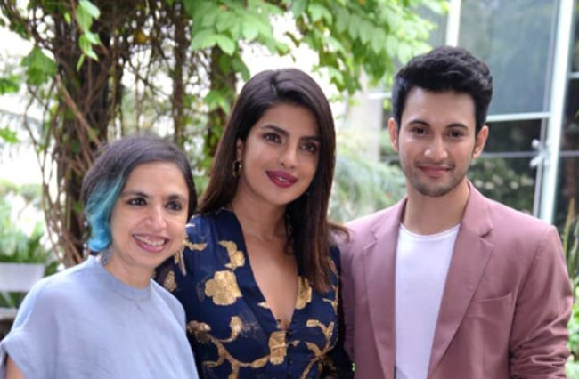 From Left to Right - Shonali Bose, Priyanka Chopra, and Rohit Suresh Saraf pictured while promoting their film 'The Sky Is Pink' in Delhi, India in 2019