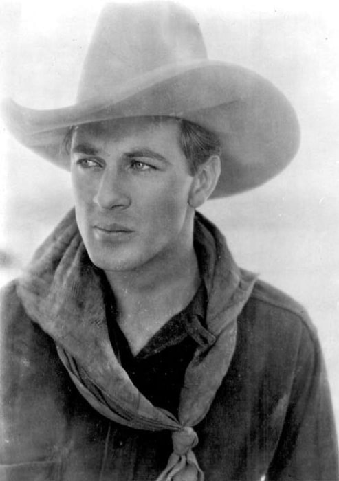 Gary Cooper as seen in the publicity photo for the American western film 'The Winning of Barbara Worth' (1926)
