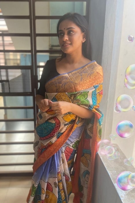 Geetha Bhagat as seen while posing in a saree in January 2021