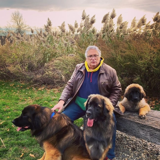 Harvey Fierstein as seen in a picture with his dogs in April 2021