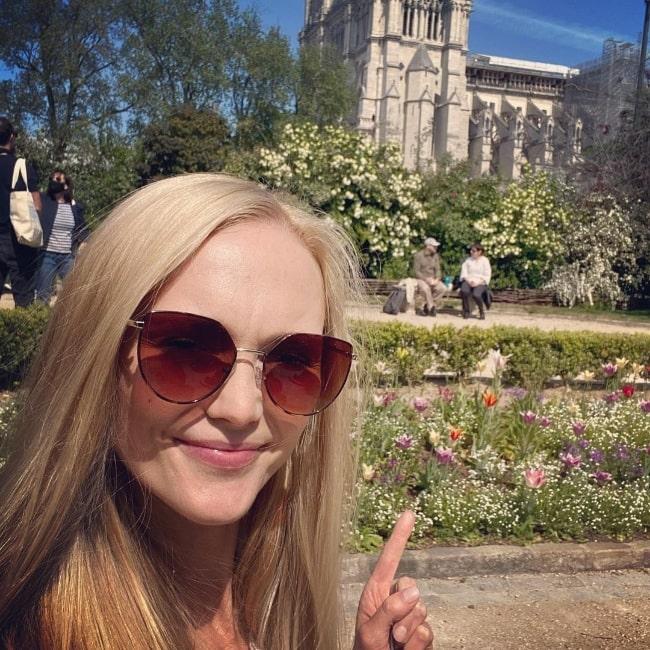Jayne Wisener as seen while taking a selfie in Paris, France in April 2021