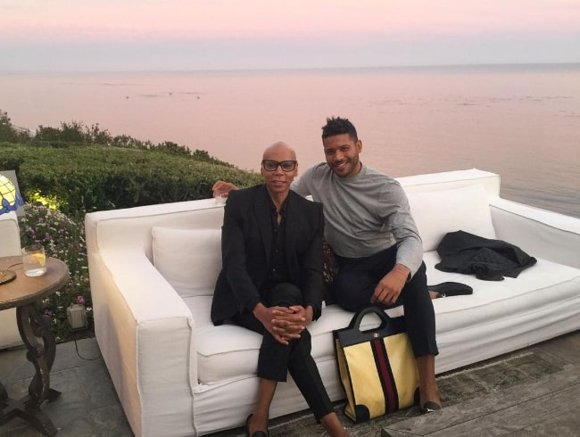 Jeffrey Bowyer-Chapman (Right) posing for a picture with RuPaul Charles in Malibu, California in November 2020