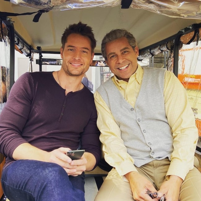 Jon Huertas (Right) smiling in a picture alongside Justin Hartley in an Instagram post in March 2020