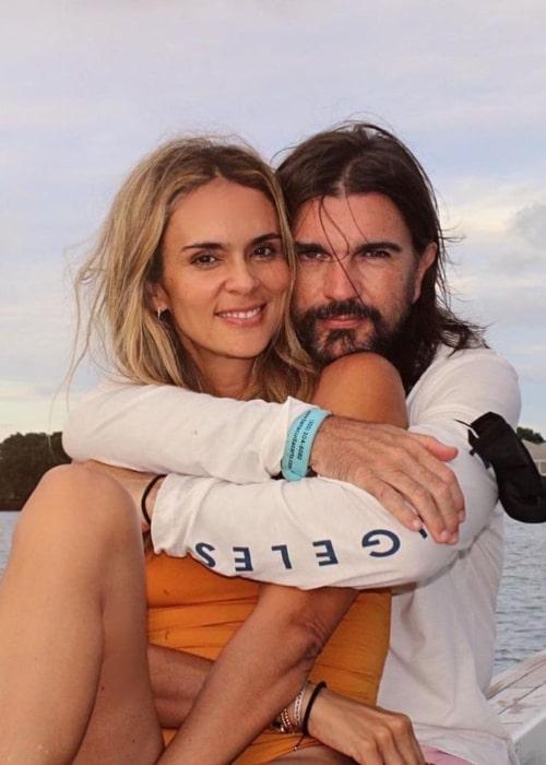 Juanes and Karen Martínez, as seen in August 2020