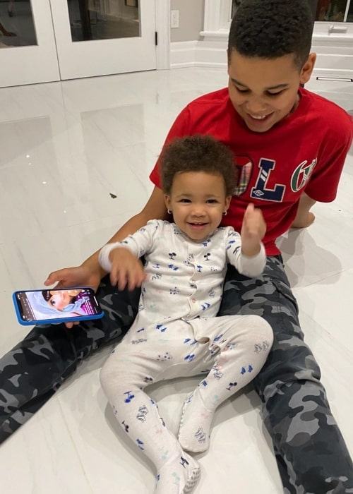 Kameiro Rush as seen in a picture that was taken with his younger sister Kirah Dior Rush in July 2020