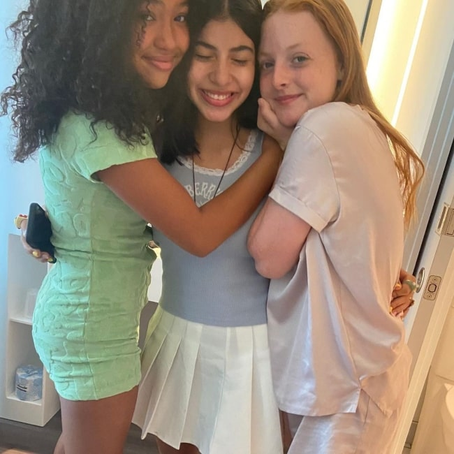Kyndra Sanchez as seen in a picture that was taken with co-stars Anais Lee and Vivian Watson in July 2021