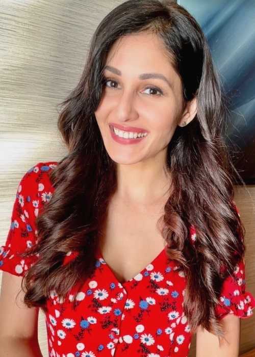 Pooja Chopra as seen while smiling for the camera in February 2021