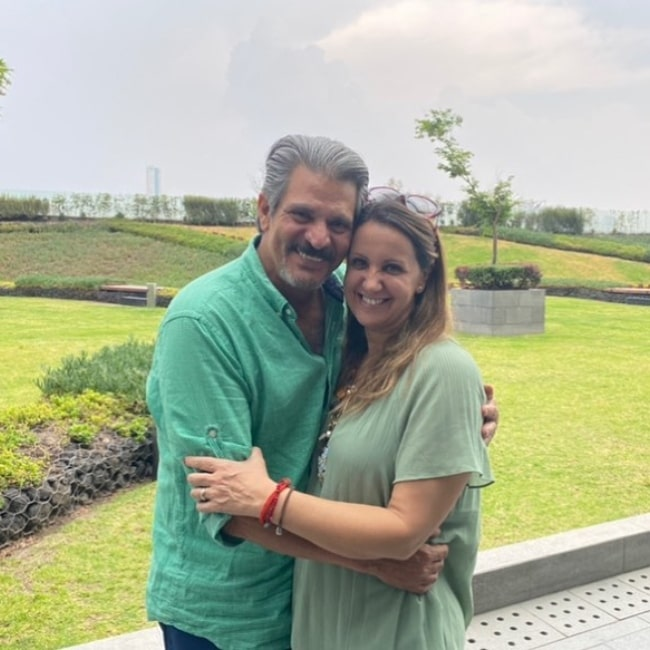 Roberto Mateos as seen in a picture with his wife Arancha Solis in September 2021