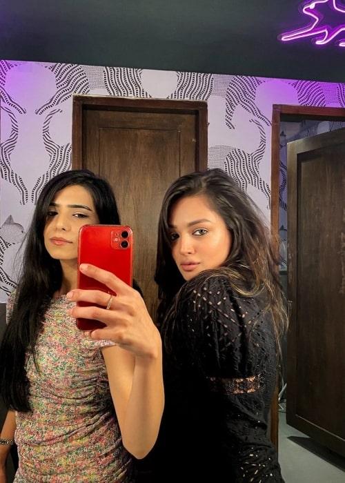 Samiksha Jaiswal as seen in a selfie that was taken with her friend Ishıta in July 2021